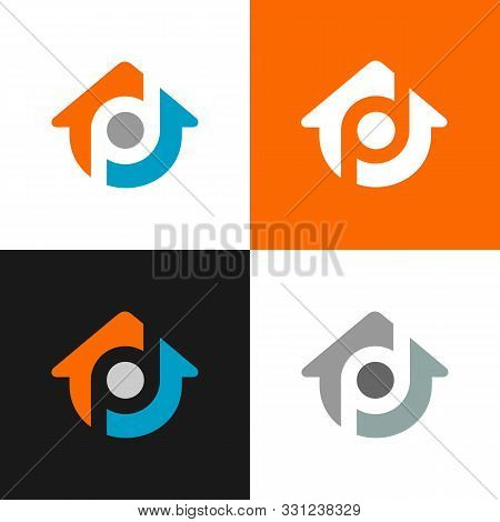Design Of Alphabet Letter Pd And House Symbol, Abstract Home Logo Design  - Vector