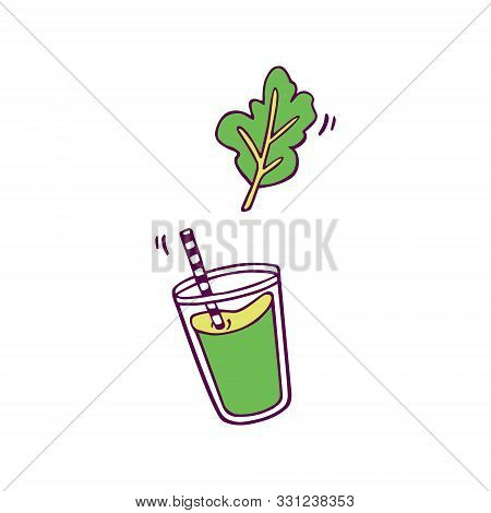 Green Smoothie With Leaf. Hand-drawn In Cartoon Style, Colored Artwork Isolated On White Background,