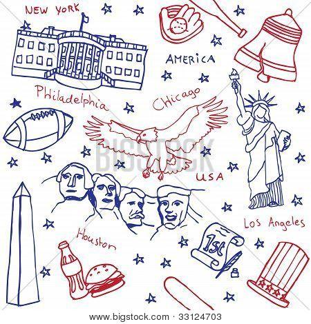 American symbol icons seamless pattern