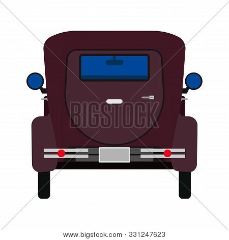 Retro Car Vector Flat Icon Back View. Classic Automobile Engine. Vintage Cartoon Vehicle Nostalgia.