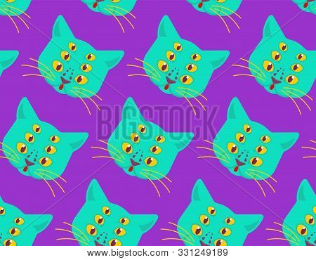 Cat Alien Monster Pattern Seamless. Ufo Pet Face Background. Animal Mutant Texture