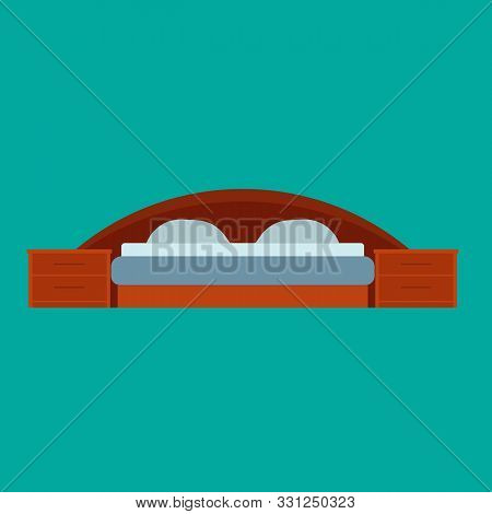 Bed Front View Vector Bedroom Cartoon Furniture Home. Sleep Interior Hotel Rest. Flat Duvet Simple F