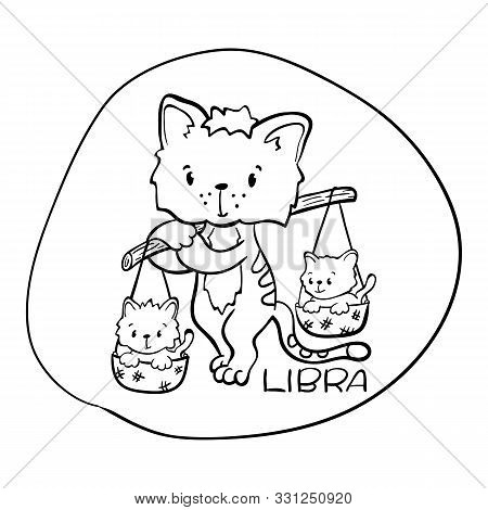 Libra Astrological Zodiac Sign With Cute Cat Character. Libra Vector Illustration On White Backgroun