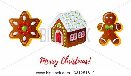 Christmas Gingerbread Biscuit Icon Set. Cartoon Gingerbread Man, House And Cookie Star. Dessert Desi