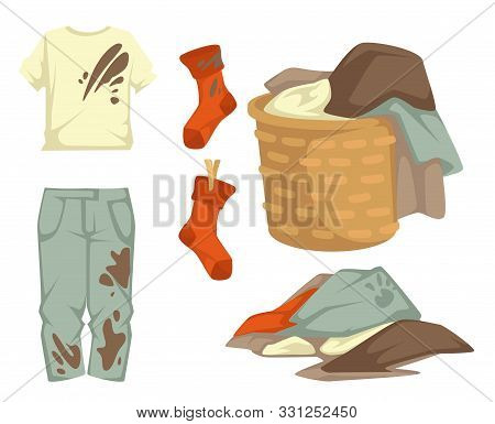 Clothes Or Dirty Laundry Stains On Garments Towels And Stocking
