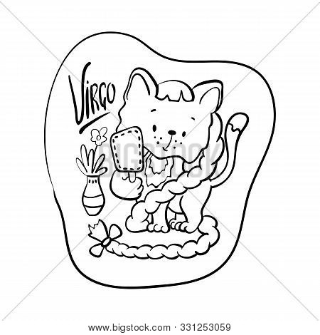 Virgo Astrological Zodiac Sign With Cute Cat Character. Virgo Vector Illustration On White Backgroun