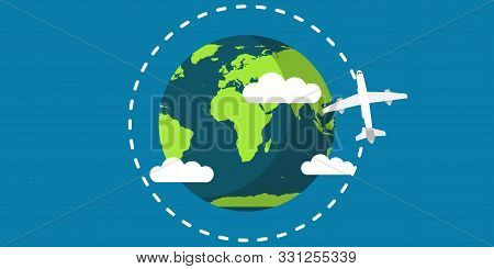 Travel Plane World Earth Vector Illustration Travel Map Concept. Fly Around Golbe Planet Vacation Tr