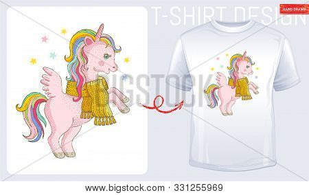Winter Unicorn T-shirt Print Design. Cute Cartoon For Baby Kid, Woman Fashion. Modern T Shirt. Pink