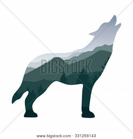 Wildlife Wolf Green Forest Landscape Silhouette Vector Illustration Eps10