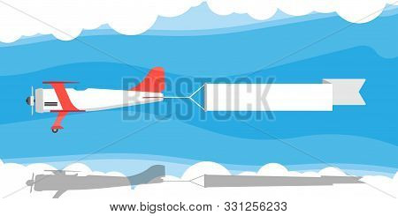 Red Biplane With Air Ribbon Banner Vector Illustration. Advertisement Sky Aviation Vintage Plane Tra