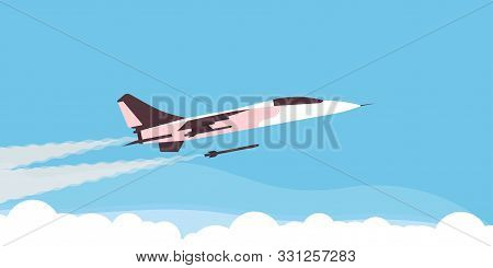 Super Fighter Plane Aircraft Vector Military Force Speed. Army Illustration Aviation War Defense Sky
