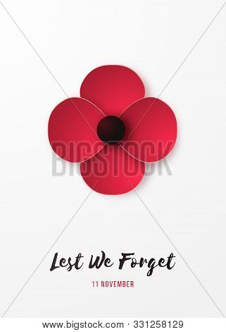 Remembrance Day Vertical Banner With Red Poppy Flower And Inscription Lest We Forget. Poppy In Origa