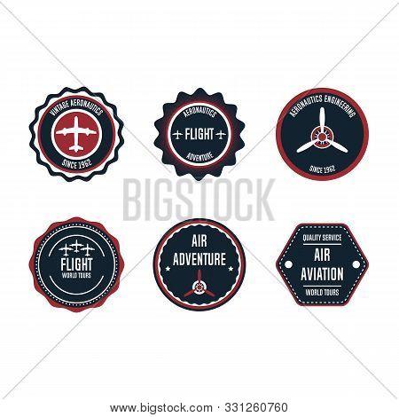Aeronautic Badge Vector Design Set Element. Flight Emblem Retro Vintage Symbol Label. Airplane Adven