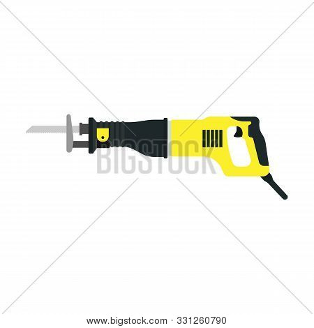 Reciprocating Saw Vector Construction Electric Blade Tool Icon. Cut Equipment Carpentry Work Isolate