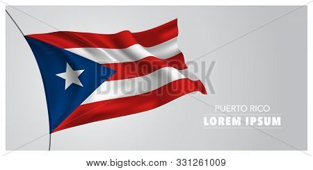 Puerto Rico Independence Day Greeting Card, Banner, Horizontal Vector Illustration. Puerto Rican Hol