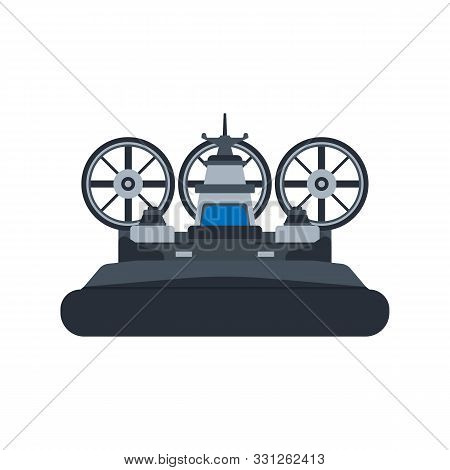 Navy Hovercraft Front View Vector Icon Illustration. Boat Sea Transport Water Vessel Speed. Isolated