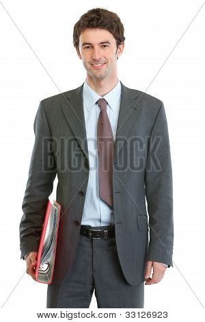Modern Businessman Holding Folder