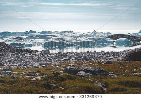 View Towards Icefjord In Ilulissat. Easy Hiking Route To The Famous Kangia Glacier In Greenland. The