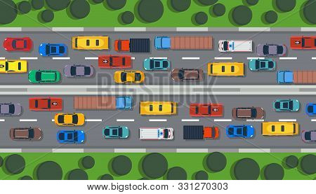 Traffic Road Vector Top View Highway City Car. Street Flat Vehicle Map Infographic Lane Illustration