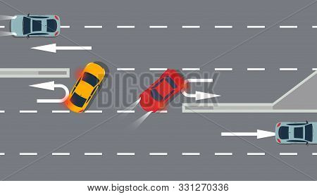 U Turn Car Red And Yellow Top View Vector Illustration Traffic Road. Sing Arrow Transportation Highw