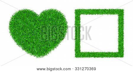 Green Grass Background 3d Set. Lawn Greenery Nature Heart, Frame. Abstract Soccer Field Texture Squa