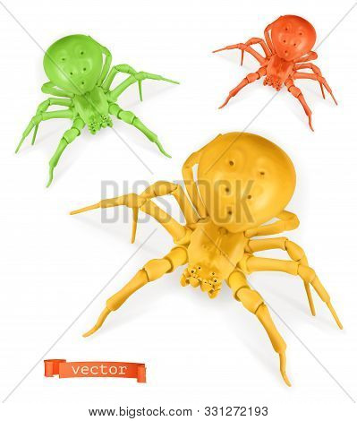 Halloween. Red, Yellow And Green Spiders. Thomisidae 3d Realistic Vector Icon