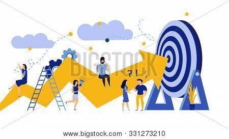 Business Progress Man And Woman Vector Success Challenge Employee. Journey Job Target Action Career