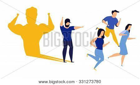 Business Ambition Leader Man Vector Illustration Concept. Superman Cape Challenge Leadership. Super