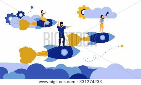 Man And Woman Target Motivation Action Air Rocket Plane Vector. Change Way Career Journey Design Pur