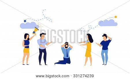 Man Office Depressed Bully Vector Business Illustration. Cartoon Tired Employee Work Job Stress. Con