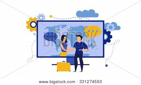 Business Trust Vector Illustration With Man And Woman. Internet Computer Partnership Businessman Tea