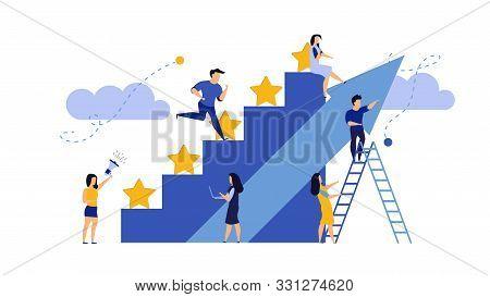 Man And Woman Vector Business Reward Satisfaction Employee. Feedback Graphic Illustration Leader Com