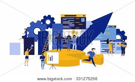 Business Career Vector People Illustration Man And Woman Person Concept. Corporate Team Success Achi