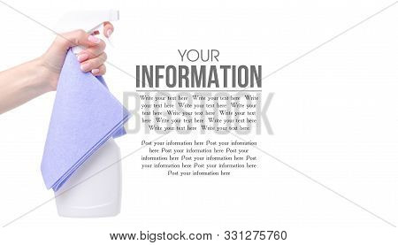 White Cleaning Spray With Blue Rag In Hand On White Background Isolation, Space For Text