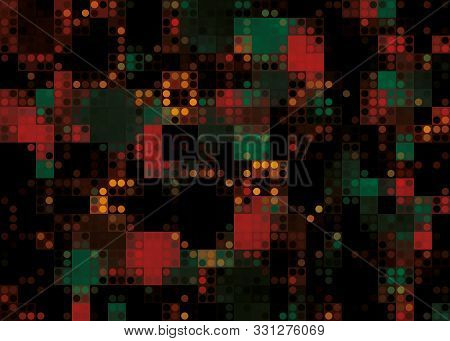Dark Red Color Light Abstract Pixels Technology Background For Computer Graphic Website Internet. Mo