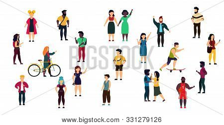 Vector City People Person Illustration Isolated White Crowd Woman And Man Cartoon. Girl And Boy Grou