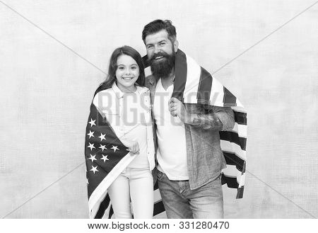 Independence Day Public Holiday. How Do Americans Celebrate Independence Day. Father And Daughter Wi