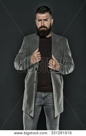 Hipster Wearing Casual Clothes. Hipster With Beard Hair And Stylish Haircut. Bearded Man Trendy Hips