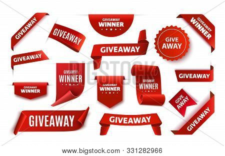 Giveaway Tags Or Labels For Social Media Post. Red Announcement 3d Banners. Vector Giveaway Contest