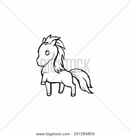Vector Illustration Horse Pony,pony Cute Cartoon Unicorn On A White Background