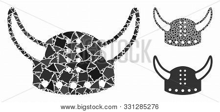 Horned Helmet Mosaic Of Ragged Pieces In Various Sizes And Shades, Based On Horned Helmet Icon. Vect