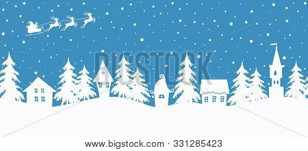 Christmas Background. Winter Village. Seamless Border. Fairy Tale Winter Landscape. Santa Claus Is R