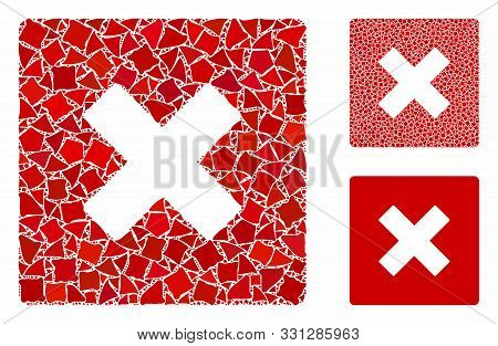 Close Mosaic Of Tremulant Pieces In Various Sizes And Color Hues, Based On Close Icon. Vector Raggy