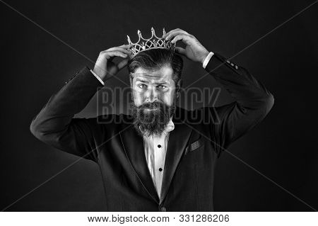 Sense Of Self Importance. Big Boss. King Crown. Egoist Concept. Businessman In Tailored Tuxedo And C