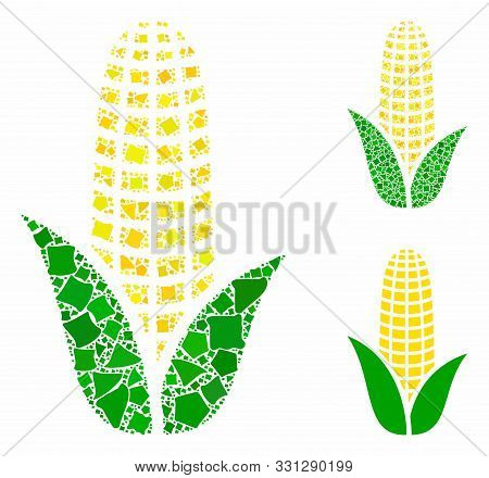 Corn Mosaic Of Abrupt Parts In Various Sizes And Color Tints, Based On Corn Icon. Vector Abrupt Part