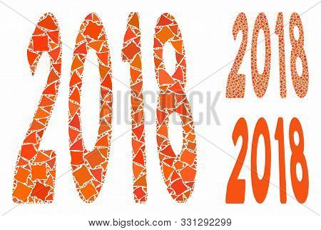 2018 Text Mosaic Of Unequal Items In Various Sizes And Color Hues, Based On 2018 Text Icon. Vector U