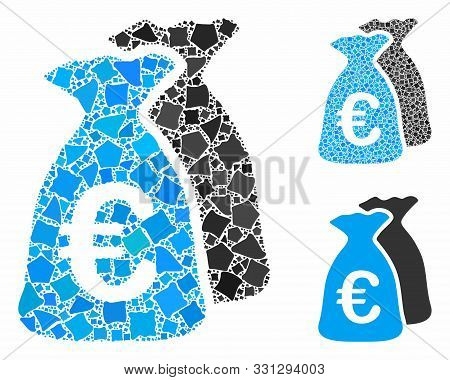 Euro Funds Mosaic Of Bumpy Parts In Various Sizes And Color Hues, Based On Euro Funds Icon. Vector R