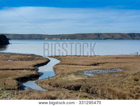 Panoramic Landscape Of An Estuary Viewed From The Estero Trail, Point Reyes National Seashore, Marin