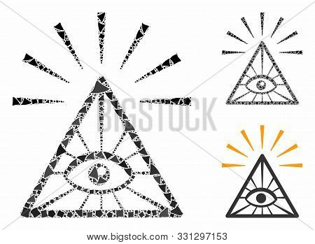 Total Control Eye Pyramid Mosaic Of Tremulant Elements In Different Sizes And Shades, Based On Total