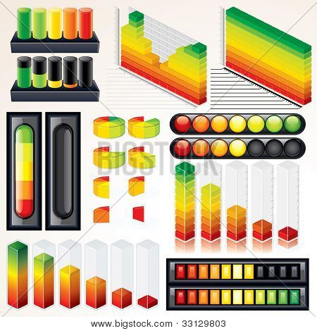 Chart, Graph and Scales. Set of Isolated Vector Design Elements for your Presentation.